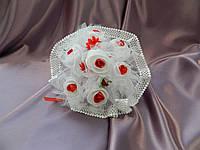 Букет-дублер простая роза бело-красный
