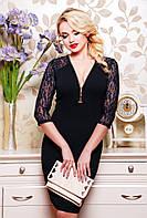 42,44,46,48,50 р Платье Розалинда черное вечернее футляр женское с гипюром на спине с декольте приталенное