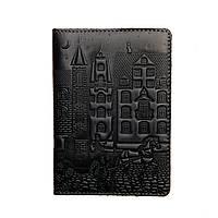 """Обложка на паспорт из натуральной кожи """"Город, темно-синий"""""""
