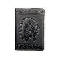 "Обложка  на паспорт из натуральной кожи ""Индеец, темно-синий"""