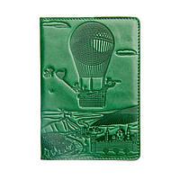 """Обложка  на паспорт из натуральной кожи """"Воздушный шар, зеленый"""""""