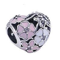 Пандора Pandora Шарм, бусина сердце Поэтичные бутоны  S 925 ALE , эмаль. цирконий
