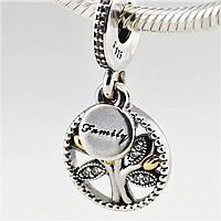 PANDORA подвеска СЕМЕЙНОЕ  (генеалогическое) ДЕРЕВО, серебро S 925 ALE, позолота, цирконий