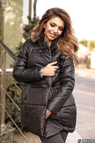 Женская куртка зима, синтепон + натуральный мех енота, р-р S; M; L