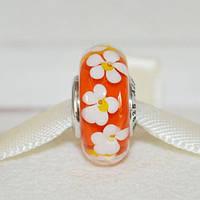 PANDORA бусина оранжевая с белыми цветками, муранское стекло, серебро 925