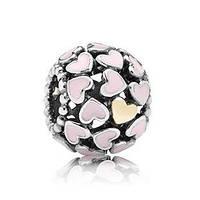 Pandora шарм, Розовые сердца с позолоченым сердечком, серебро S 925 ALE