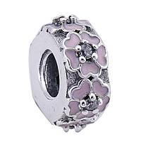 PANDORA Шарм-винт РОЗОВЫЕ ПРИМУЛЫ, серебро S 925 ALE, цирконий, эмаль
