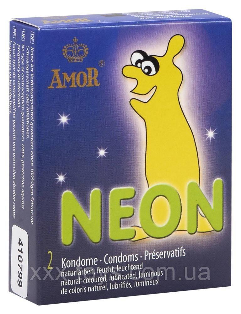Презервативы светящиеся AMOR Неон 2 шт/уп - xxx-toys.com.ua в Александрии
