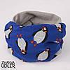 Синий шарф-снуд с пингвинами