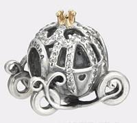 КАРЕТА ЗОЛУШКИ Шарм Пандора серебро S 925 ALE, позолота, цирконий Pandora