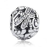"""PANDORA Шарм """"Стрекоза,полевые цветы"""", серебро S 925 ALE,цирконий"""