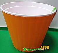 Горшок цветочный Ибис 17,9х14,7 см с двойным дном оранжево-белый 2,3 л, Украина