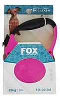 Поводок-рулетка с прорезиненной ручкой для мелких и средних пород собак 3 м до 20 кг лента FD706-3M розовый