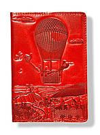 """Обложка  на паспорт из натуральной кожи """"Воздушный шар"""", красный"""