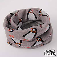 Серый шарф-снуд с пингвинами, фото 1