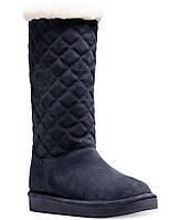Женские зимние замшевые синие  высокие сапоги угги американского бренда Michael Kors оригинал натуральный мех