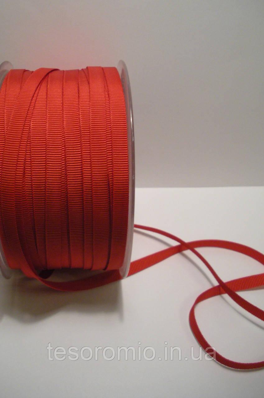 Репсовая лента итальянская, полиэстер, 6 мм ширина, красный цвет