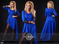 Платье в пол с юбкой сеточкой синее