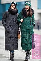 Зимовий пуховик-плащ МІЛАН темно зелений