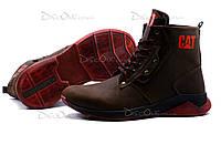 Зимние ботинки CAT, мужские, на меху, натуральная кожа, коричневые, р. 40 41