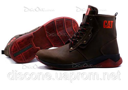Зимние ботинки CAT, мужские, на меху, натуральная кожа, коричневые, р. 40