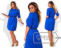 Модное замшевое платье для пышных модниц (хлястики для подворота рукава, узкий плетённый пояс) РАЗНЫЕ ЦВЕТА!