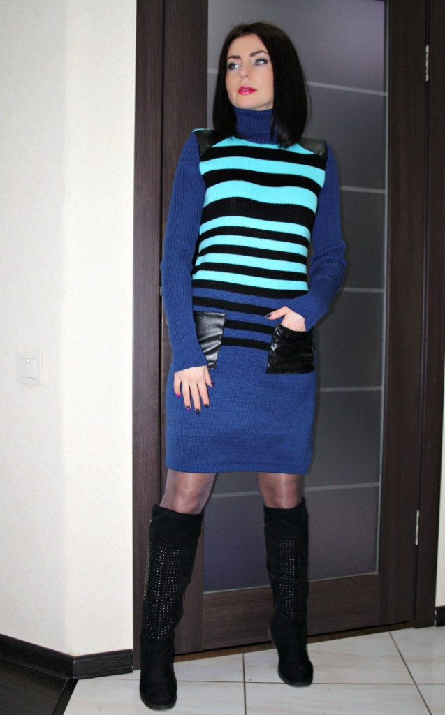 В'язане плаття Смужка-кишеня р. 42-50