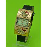 "Женские наручные часы на чёрном кожаном ремешке ""Hello kitty стразы"""