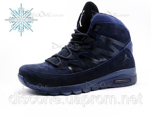 Зимние кроссовки Jordan, мужские, нубук, темно-синие