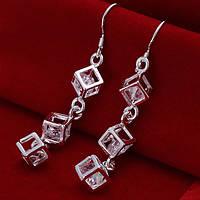 Сережки серебристые кубики покрытие 925 серебро проба