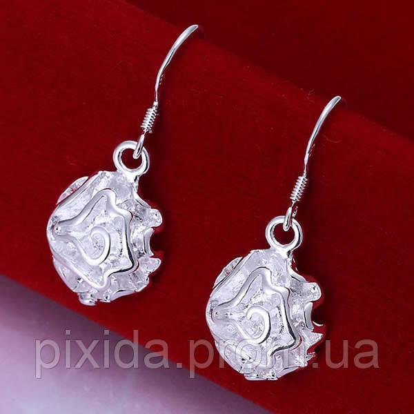 Сережки Розочки покрытие 925 серебро проба