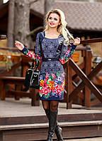 """Стильное женское платье """" Яркий принт,кожанные вставки"""" РАЗНЫЕ ЦВЕТА"""
