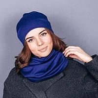 Синий набор: снуд+шапка, фото 1