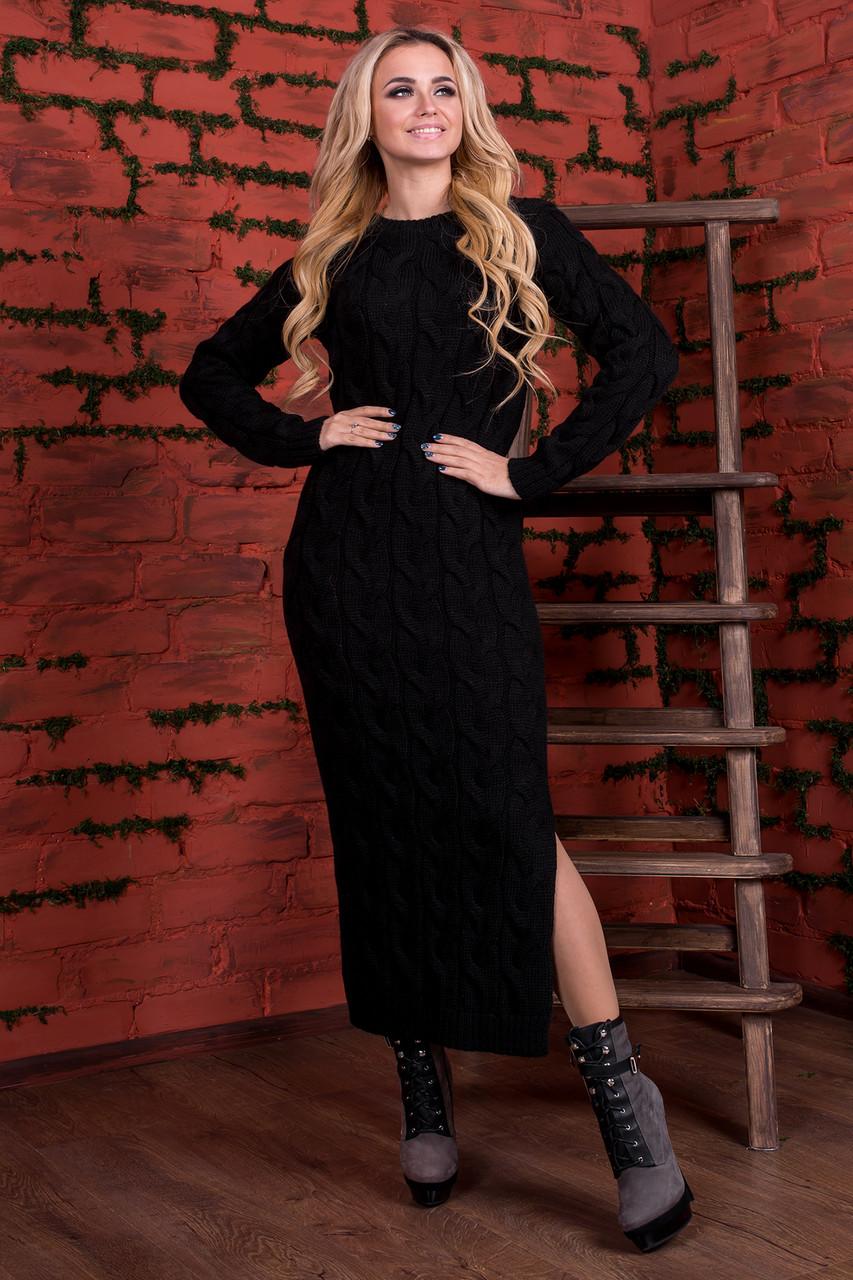 купить черное теплое платье