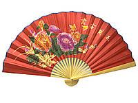 Веер настенный большой бамбук с шелком