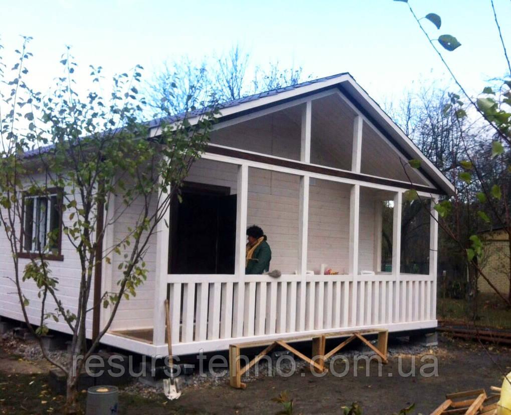 Дачный домик 8м х 6м.Фальшбрус с террассой, фото 1