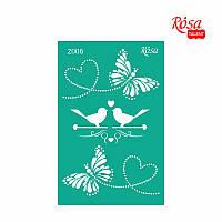 Трафарет многоразовый самоклеющийся, 13x20 см, №2006, Серия ''Влюбленные сердца'', ROSA Talent
