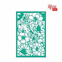Трафарет многоразовый самоклеющийся, Фоновый 13x20 см, №1000, Серия ''Цветы'' ROSA Talent