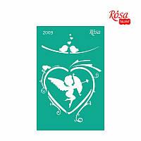 Трафарет многоразовый самоклеющийся, 13x20 см, №2009, Серия ''Влюбленные сердца'', ROSA Talent