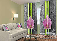 "ФотоШторы ""Орхідеї і бамбук 2"" 2,5 м*2,6 м (2 полотна по 1,30 м), тасьма"