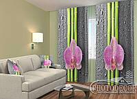 "ФотоШторы ""Орхидеи и бамбук 2"" 2,5м*2,6м (2 половинки по 1,30м), тесьма"