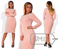 Модное платье для пышных модниц, эффектное сочетание тканей однотонной и с принтом в горошек РАЗНЫЕ ЦВЕТА!