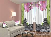 "ФотоШторы ""Орхидеи и бамбук"" 2,5м*2,6м (2 половинки по 1,30м), тесьма"