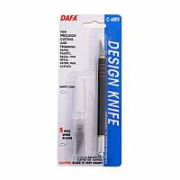 Нож макетный C-600S, пластиковая ручка, 5 сменных лезвий, DAFA