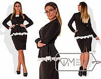 Эффектный женский костюм для пышных модниц (юбка и кофта, декор шикарным кружевом) РАЗНЫЕ ЦВЕТА!