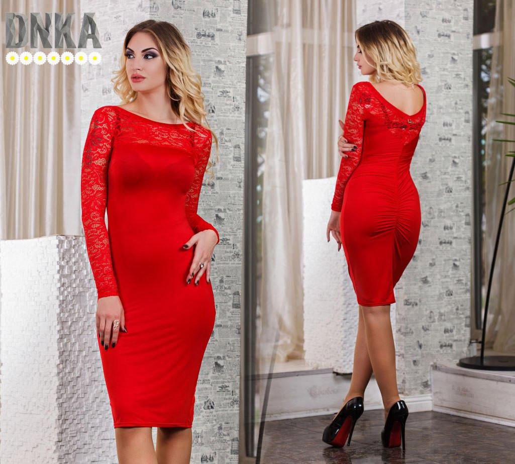 ced4d1ebb21 Модное красное платье с отделкой гипюра
