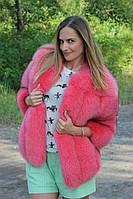 """Розовый полушубок из меха песца """"Stephanie"""", 65 см длина, в наличии 46 размер"""