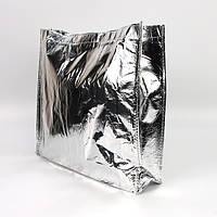 Подарочная сумка ламинированная упаковочная серебро 002