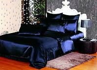 Полуторный атласный  комплект постельного белья Синий