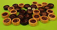 Набор деревянных фишек для нард с кожей